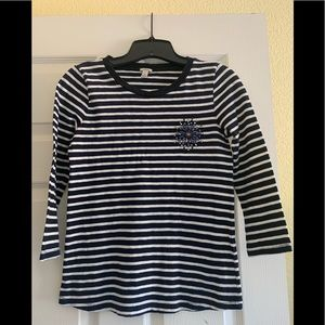 J. Crew navy and white striped shirt size XS